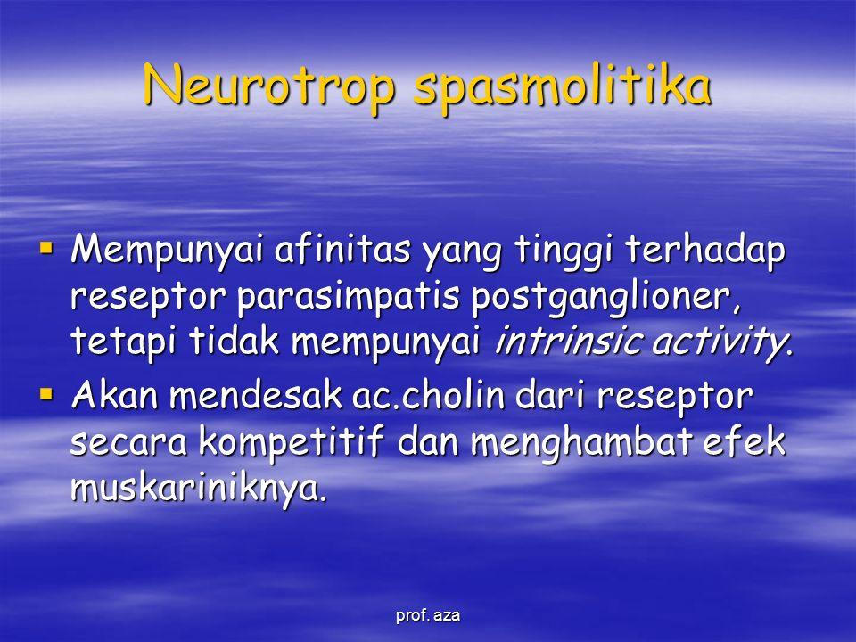 Neurotrop spasmolitika  Mempunyai afinitas yang tinggi terhadap reseptor parasimpatis postganglioner, tetapi tidak mempunyai intrinsic activity.