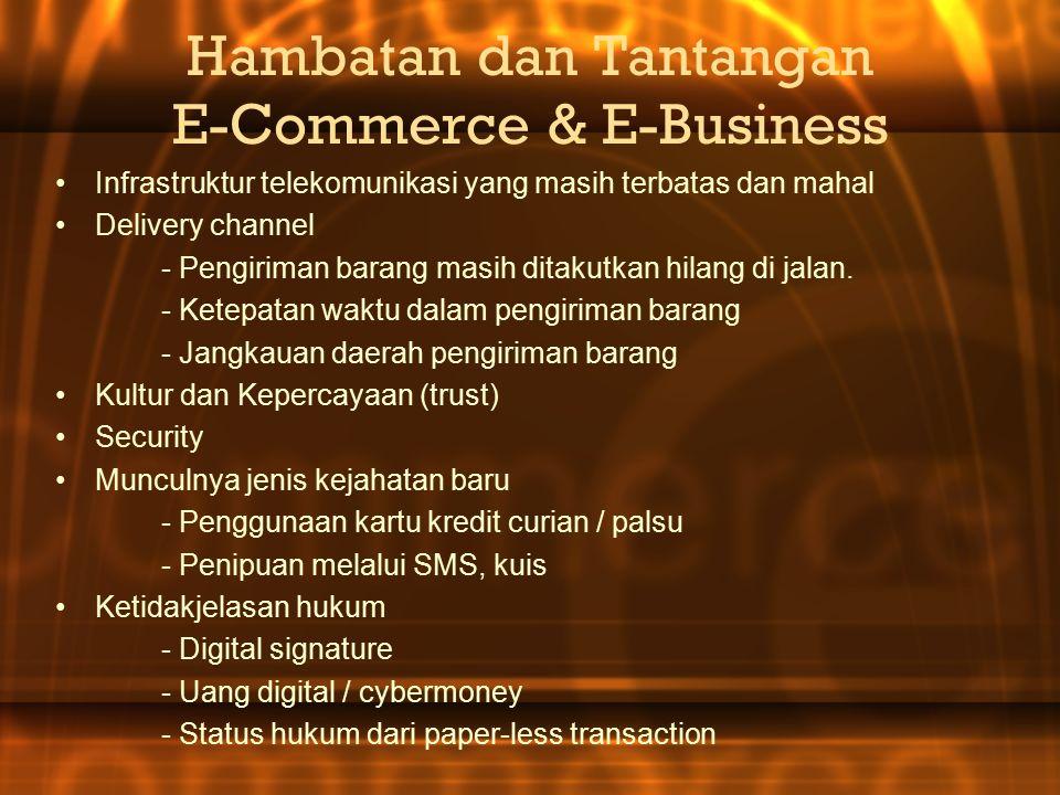 Hambatan dan Tantangan E-Commerce & E-Business Infrastruktur telekomunikasi yang masih terbatas dan mahal Delivery channel - Pengiriman barang masih ditakutkan hilang di jalan.