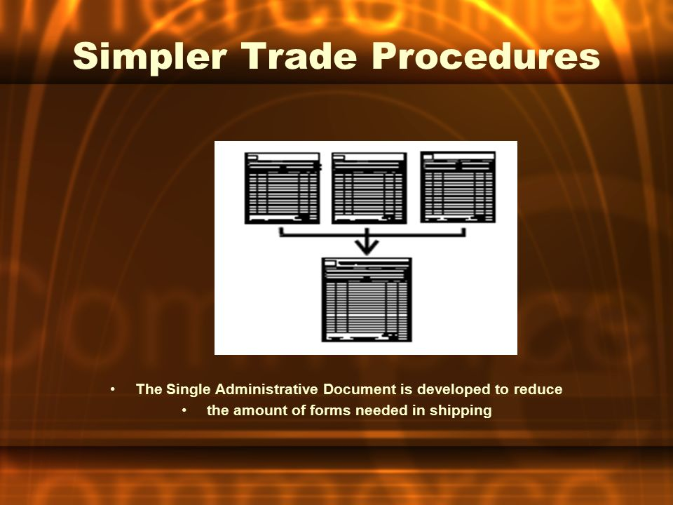 Simpler Trade Procedures The Single Administrative Document is developed to reduce the amount of forms needed in shipping