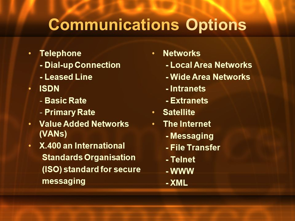 Communications Options Telephone - Dial-up Connection - Leased Line ISDN - Basic Rate - Primary Rate Value Added Networks (VANs) X.400 an International Standards Organisation (ISO) standard for secure messaging Networks - Local Area Networks - Wide Area Networks - Intranets - Extranets Satellite The Internet - Messaging - File Transfer - Telnet - WWW - XML