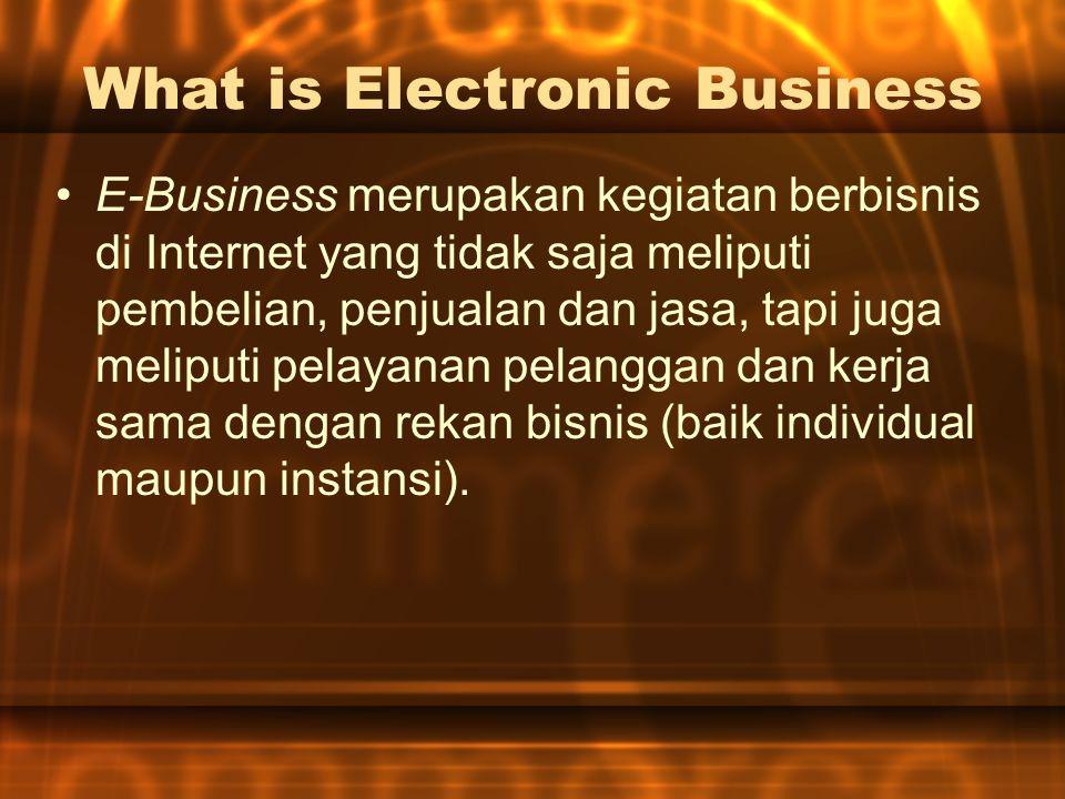 What is Electronic Business E-Business merupakan kegiatan berbisnis di Internet yang tidak saja meliputi pembelian, penjualan dan jasa, tapi juga meliputi pelayanan pelanggan dan kerja sama dengan rekan bisnis (baik individual maupun instansi).
