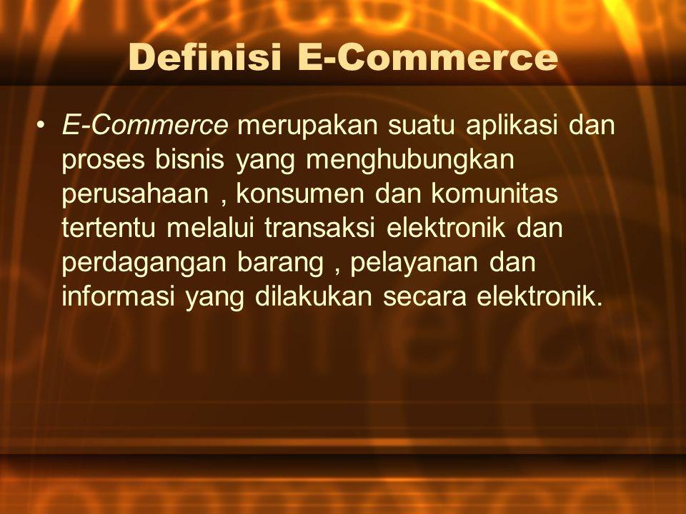 Definisi E-Commerce E-Commerce merupakan suatu aplikasi dan proses bisnis yang menghubungkan perusahaan, konsumen dan komunitas tertentu melalui transaksi elektronik dan perdagangan barang, pelayanan dan informasi yang dilakukan secara elektronik.