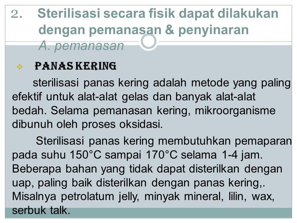 2.Sterilisasi secara fisik dapat dilakukan dengan pemanasan & penyinaran A.