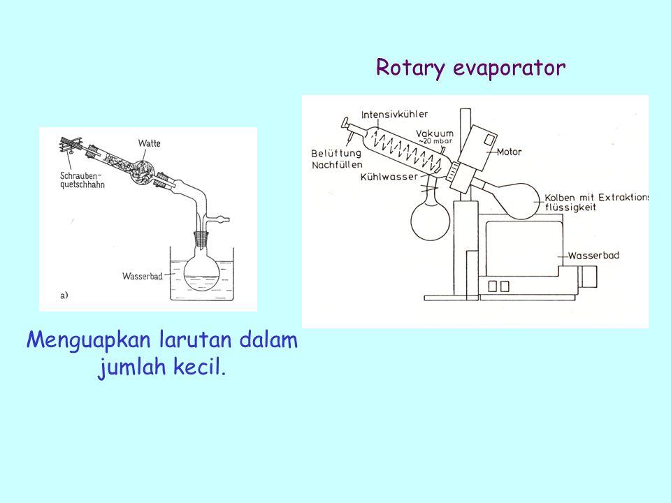 Menguapkan larutan dalam jumlah kecil. Rotary evaporator