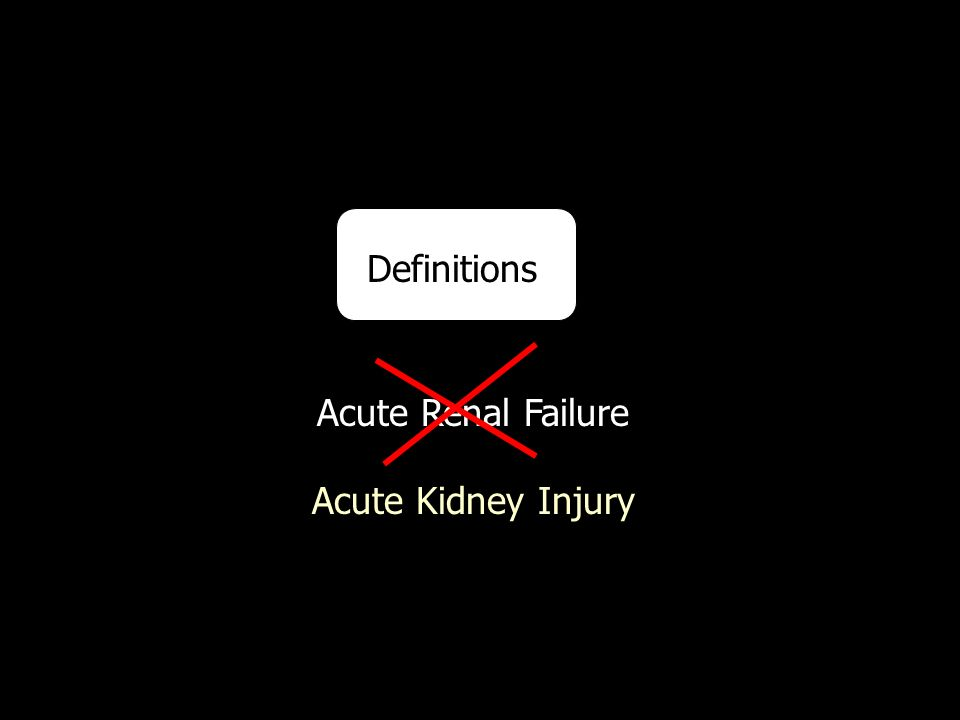 Definitions Acute Renal Failure Acute Kidney Injury