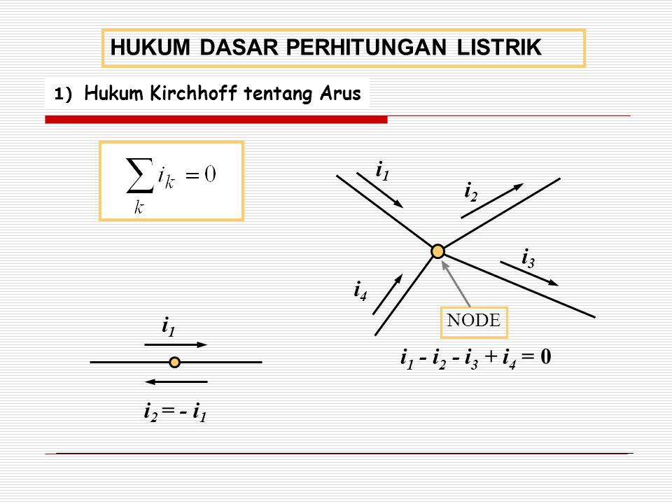 1) Hukum Kirchhoff tentang Arus HUKUM DASAR PERHITUNGAN LISTRIK NODE i1i1 i4i4 i3i3 i2i2 i 1 - i 2 - i 3 + i 4 = 0 i1i1 i 2 = - i 1