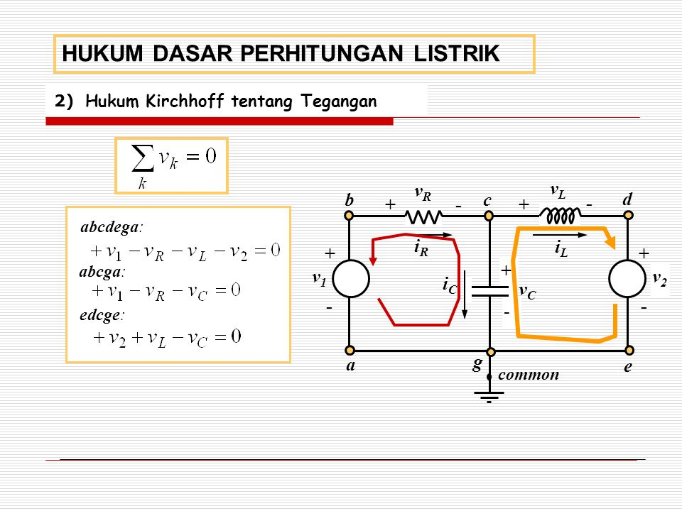 2) Hukum Kirchhoff tentang Tegangan HUKUM DASAR PERHITUNGAN LISTRIK a v2v2 + v1v1 - + + + + - - - - c d e g common b vCvC vLvL vRvR iRiR iCiC iLiL abcdega: abcga: edcge: