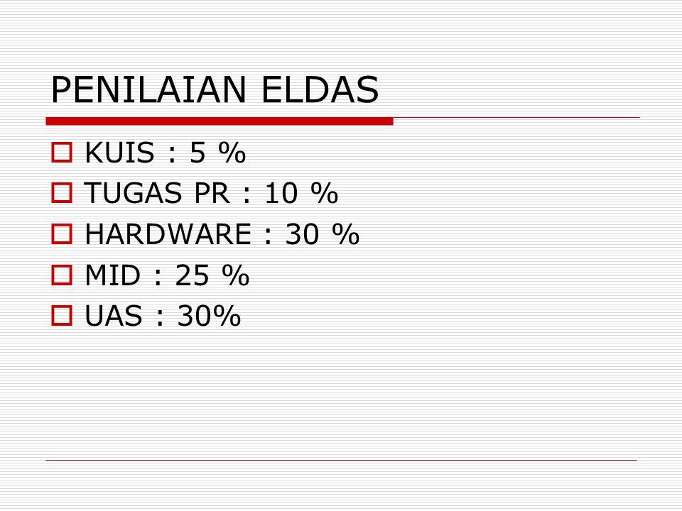 PENILAIAN ELDAS  KUIS : 5 %  TUGAS PR : 10 %  HARDWARE : 30 %  MID : 25 %  UAS : 30%