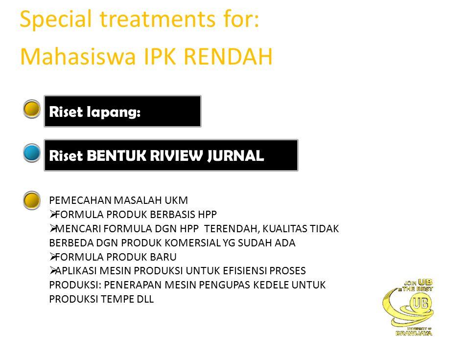 Special treatments for: Mahasiswa IPK RENDAH Riset lapang: Riset BENTUK RIVIEW JURNAL PEMECAHAN MASALAH UKM  FORMULA PRODUK BERBASIS HPP  MENCARI FORMULA DGN HPP TERENDAH, KUALITAS TIDAK BERBEDA DGN PRODUK KOMERSIAL YG SUDAH ADA  FORMULA PRODUK BARU  APLIKASI MESIN PRODUKSI UNTUK EFISIENSI PROSES PRODUKSI: PENERAPAN MESIN PENGUPAS KEDELE UNTUK PRODUKSI TEMPE DLL