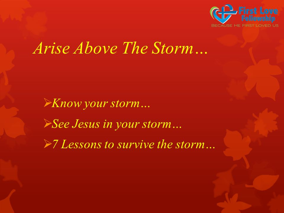 Arise Above The Storm…  Know your storm…  See Jesus in your storm…  7 Lessons to survive the storm…