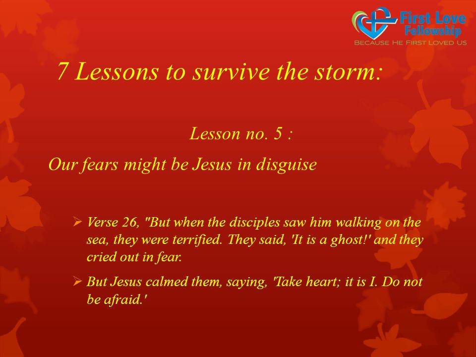 7 Lessons to survive the storm: Lesson no. 5 : Our fears might be Jesus in disguise  Verse 26,
