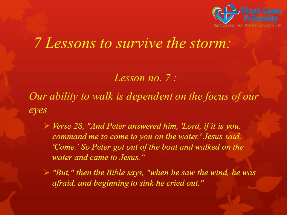 7 Lessons to survive the storm: Lesson no. 7 : Our ability to walk is dependent on the focus of our eyes  Verse 28,
