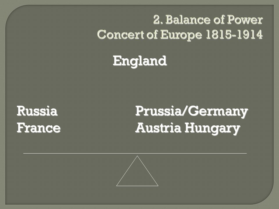 2. Balance of Power Concert of Europe 1815-1914 England Russia Prussia/Germany France Austria Hungary