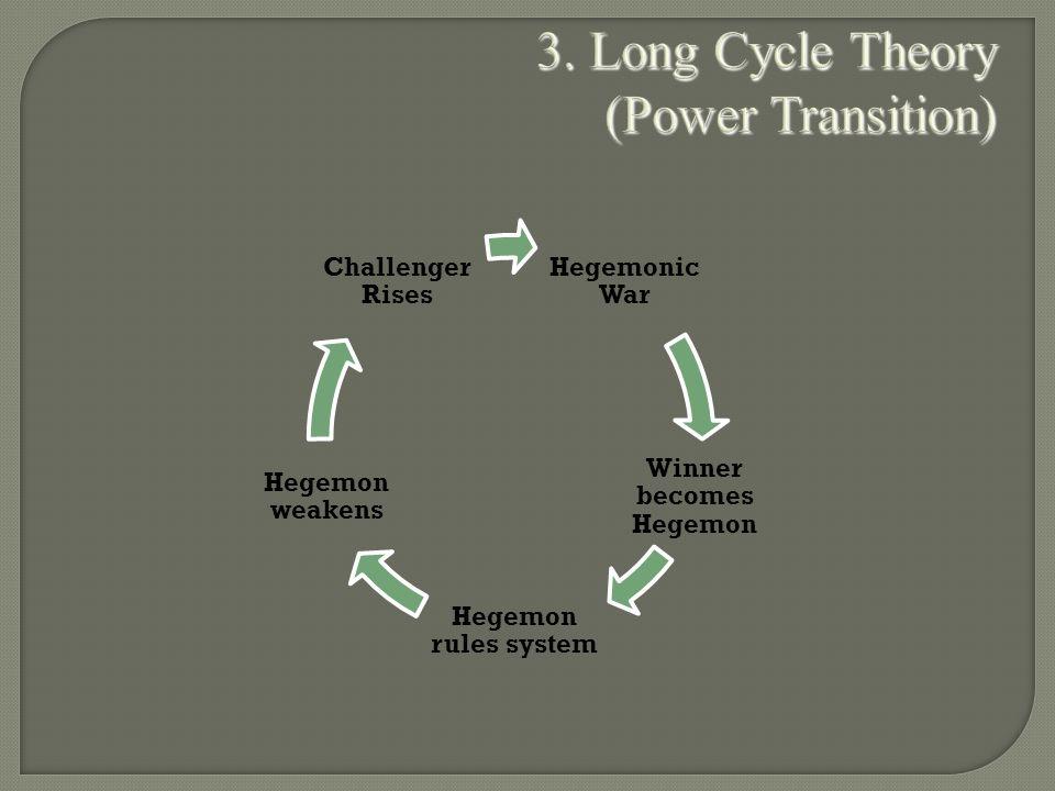 3. Long Cycle Theory (Power Transition) Hegemonic War Winner becomes Hegemon Hegemon rules system Hegemon weakens Challenger Rises