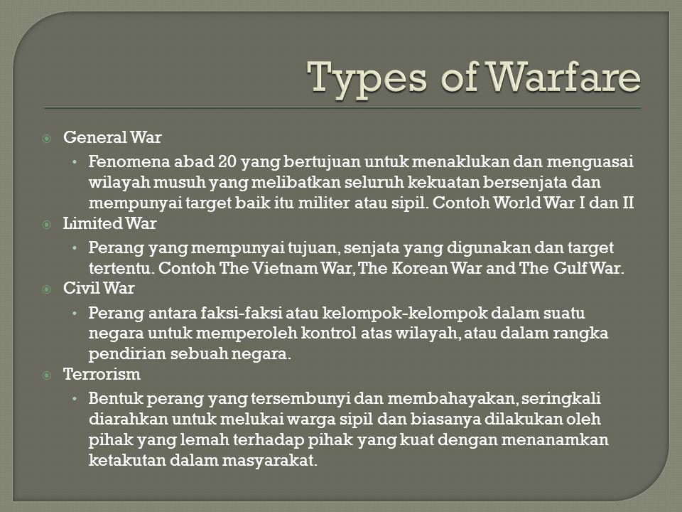  General War Fenomena abad 20 yang bertujuan untuk menaklukan dan menguasai wilayah musuh yang melibatkan seluruh kekuatan bersenjata dan mempunyai t