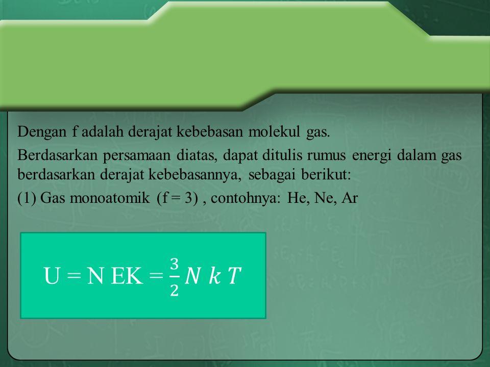 Dengan f adalah derajat kebebasan molekul gas.