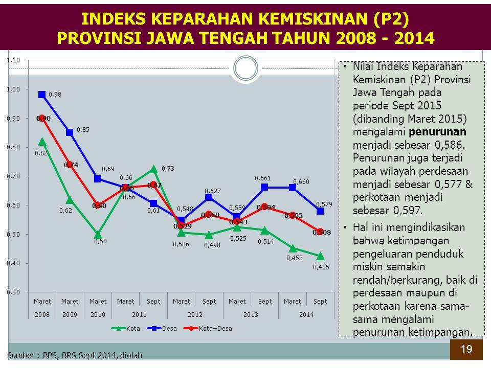 Nilai Indeks Keparahan Kemiskinan (P2) Provinsi Jawa Tengah pada periode Sept 2015 (dibanding Maret 2015) mengalami penurunan menjadi sebesar 0,586. P