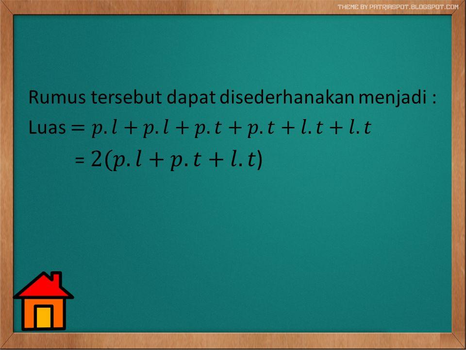 Volume balok Volume balok dapat kita cari menggunakan rumus berikut : Volume balok = panjang x lebar x tinggi = p x l x t ------------------------------------------------------------