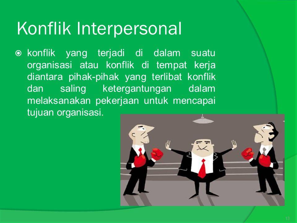 Konflik Interpersonal  konflik yang terjadi di dalam suatu organisasi atau konflik di tempat kerja diantara pihak-pihak yang terlibat konflik dan saling ketergantungan dalam melaksanakan pekerjaan untuk mencapai tujuan organisasi.