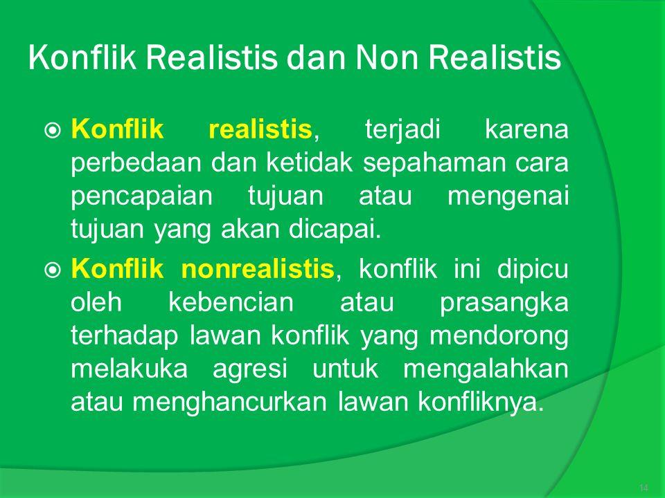 Konflik Realistis dan Non Realistis  Konflik realistis, terjadi karena perbedaan dan ketidak sepahaman cara pencapaian tujuan atau mengenai tujuan yang akan dicapai.
