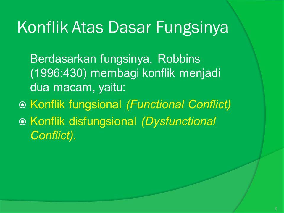 Konflik Atas Dasar Fungsinya  Berdasarkan fungsinya, Robbins (1996:430) membagi konflik menjadi dua macam, yaitu:  Konflik fungsional (Functional Conflict)  Konflik disfungsional (Dysfunctional Conflict).
