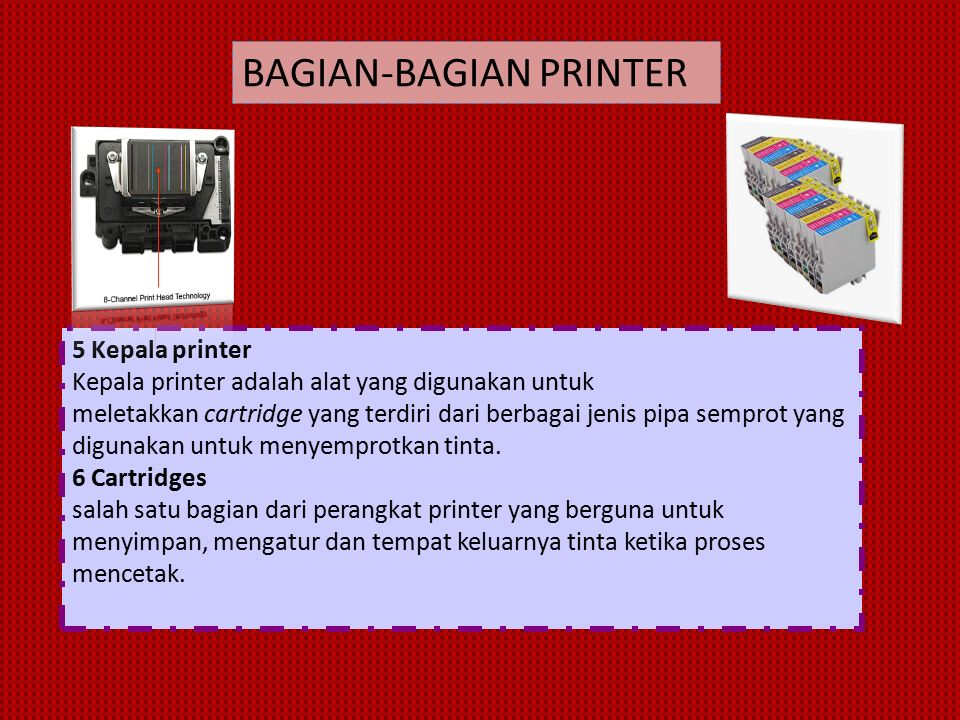 5 Kepala printer Kepala printer adalah alat yang digunakan untuk meletakkan cartridge yang terdiri dari berbagai jenis pipa semprot yang digunakan untuk menyemprotkan tinta.