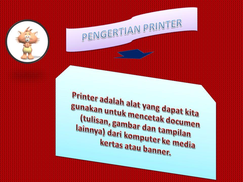 1.Printer Dot Matrix Printer dengan teknologi Dot Matrix ini menggunakan alat semacam jarum dalam menghasilkan sebuah cetakan baik itu berbentuk teks, tabel, maupun gambar.