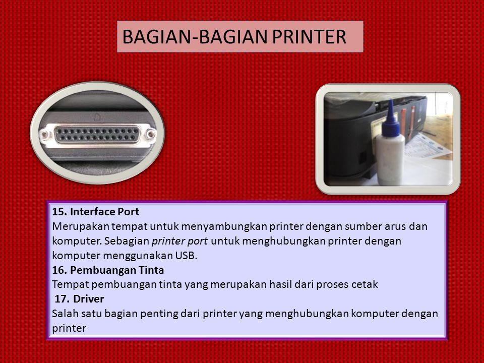 15. Interface Port Merupakan tempat untuk menyambungkan printer dengan sumber arus dan komputer.