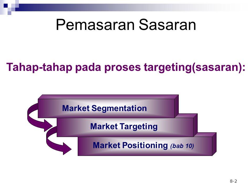 8-2 Pemasaran Sasaran Tahap-tahap pada proses targeting(sasaran): Market Positioning (bab 10) Market Targeting Market Segmentation