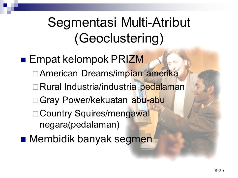8-20 Segmentasi Multi-Atribut (Geoclustering) Empat kelompok PRIZM  American Dreams/impian amerika  Rural Industria/industria pedalaman  Gray Power