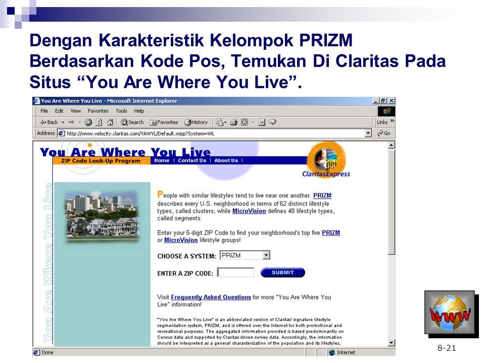 """8-21 Dengan Karakteristik Kelompok PRIZM Berdasarkan Kode Pos, Temukan Di Claritas Pada Situs """"You Are Where You Live""""."""