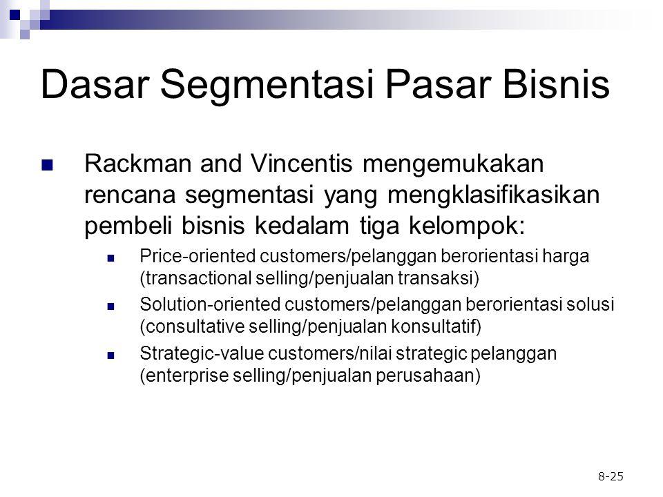 8-25 Dasar Segmentasi Pasar Bisnis Rackman and Vincentis mengemukakan rencana segmentasi yang mengklasifikasikan pembeli bisnis kedalam tiga kelompok: