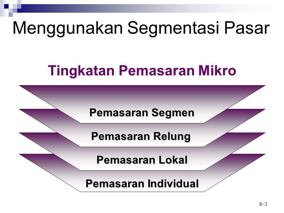 8-3 Menggunakan Segmentasi Pasar Pemasaran Segmen Pemasaran Relung Pemasaran Lokal Pemasaran Individual Tingkatan Pemasaran Mikro