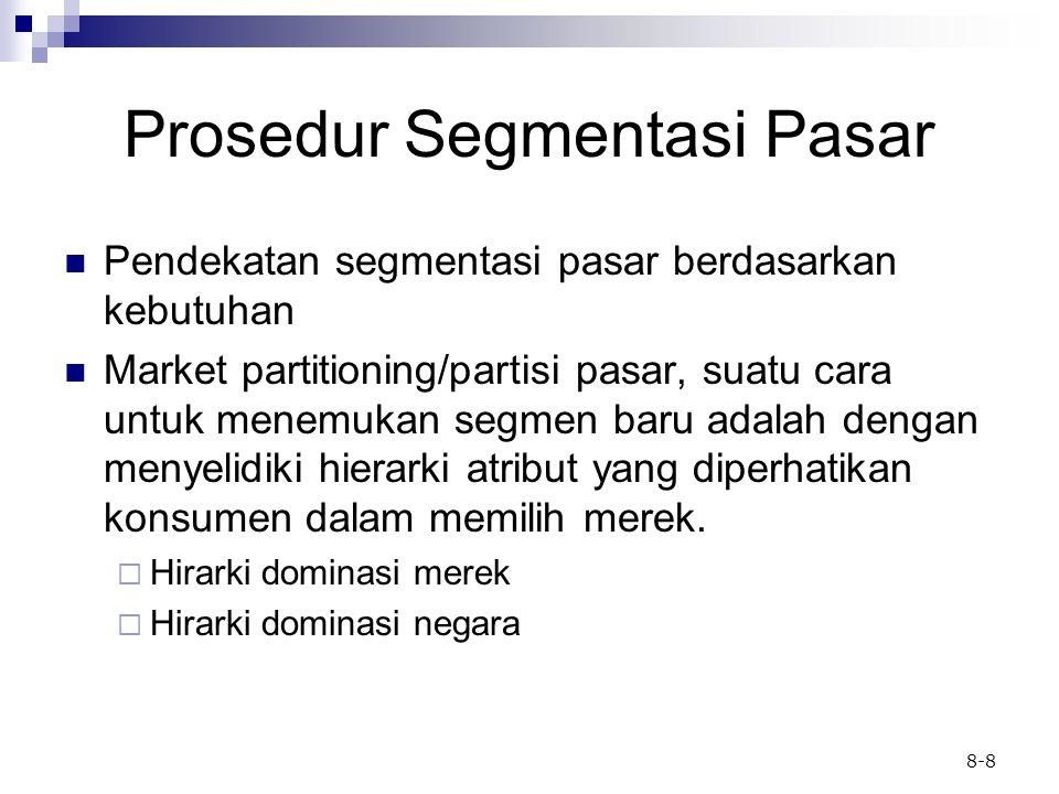 8-8 Prosedur Segmentasi Pasar Pendekatan segmentasi pasar berdasarkan kebutuhan Market partitioning/partisi pasar, suatu cara untuk menemukan segmen b