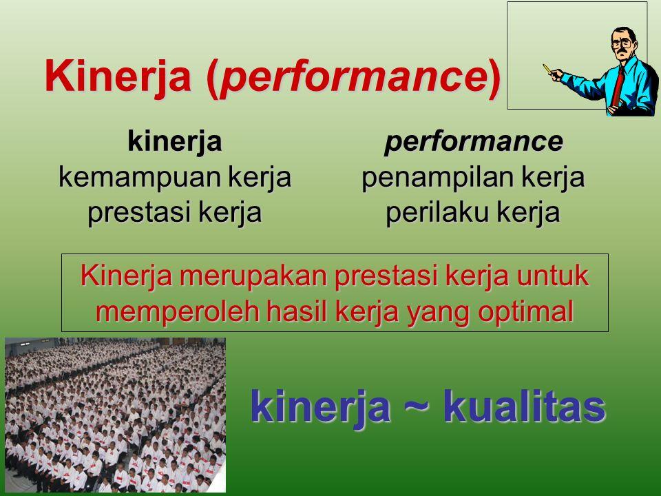 Kinerja (performance) kinerja kemampuan kerja prestasi kerja performance penampilan kerja perilaku kerja Kinerja merupakan prestasi kerja untuk memperoleh hasil kerja yang optimal kinerja ~ kualitas