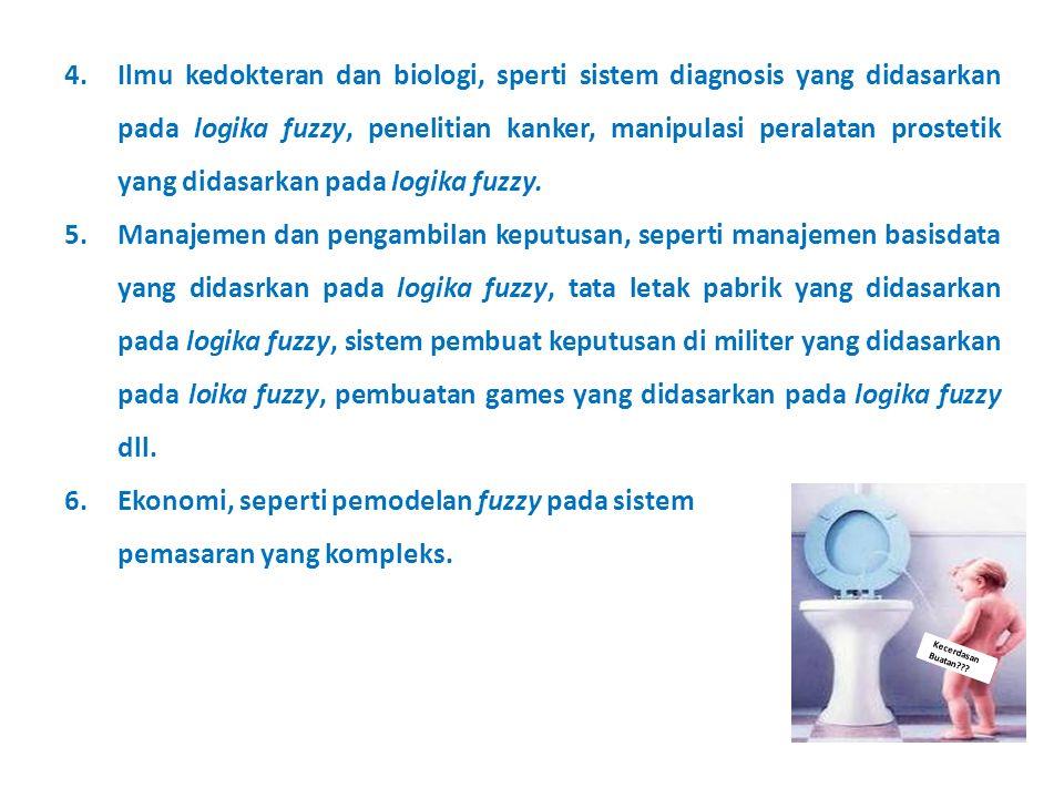Kecerdasan Buatan??? 4.Ilmu kedokteran dan biologi, sperti sistem diagnosis yang didasarkan pada logika fuzzy, penelitian kanker, manipulasi peralatan