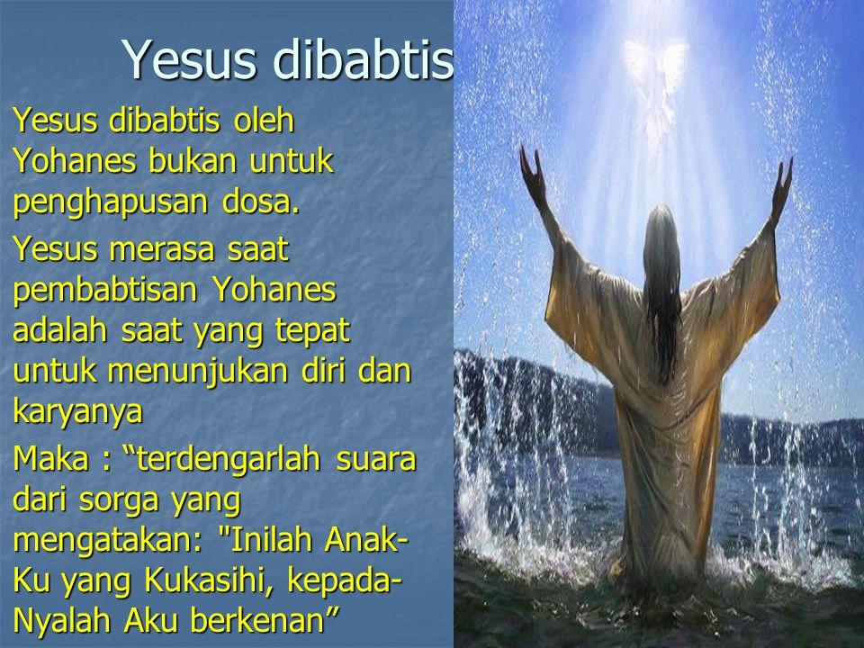 Yesus dibabtis Yesus dibabtis oleh Yohanes bukan untuk penghapusan dosa. Yesus dibabtis oleh Yohanes bukan untuk penghapusan dosa. Yesus merasa saat p