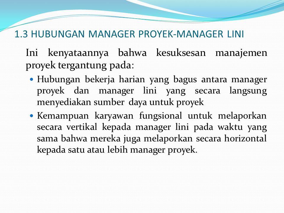 1.3 HUBUNGAN MANAGER PROYEK-MANAGER LINI Ini kenyataannya bahwa kesuksesan manajemen proyek tergantung pada: Hubungan bekerja harian yang bagus antara