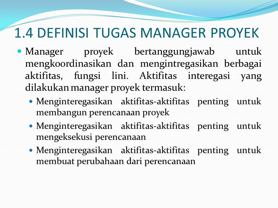 1.4 DEFINISI TUGAS MANAGER PROYEK Manager proyek bertanggungjawab untuk mengkoordinasikan dan mengintregasikan berbagai aktifitas, fungsi lini. Aktifi