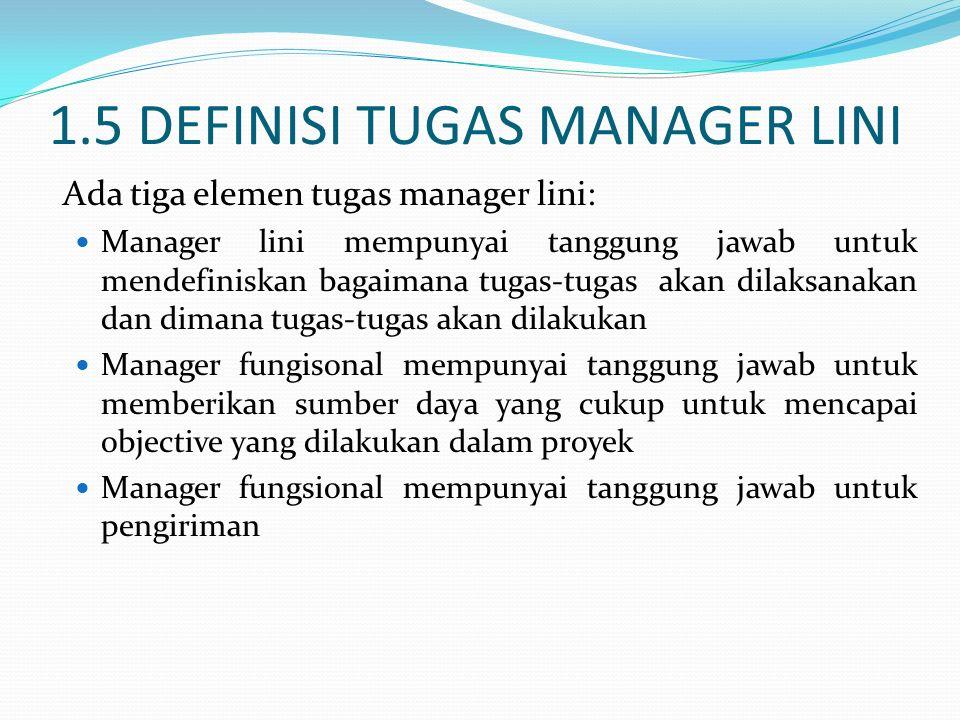 1.5 DEFINISI TUGAS MANAGER LINI Ada tiga elemen tugas manager lini: Manager lini mempunyai tanggung jawab untuk mendefiniskan bagaimana tugas-tugas ak