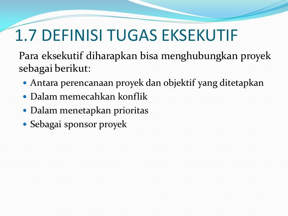 1.7 DEFINISI TUGAS EKSEKUTIF Para eksekutif diharapkan bisa menghubungkan proyek sebagai berikut: Antara perencanaan proyek dan objektif yang ditetapk