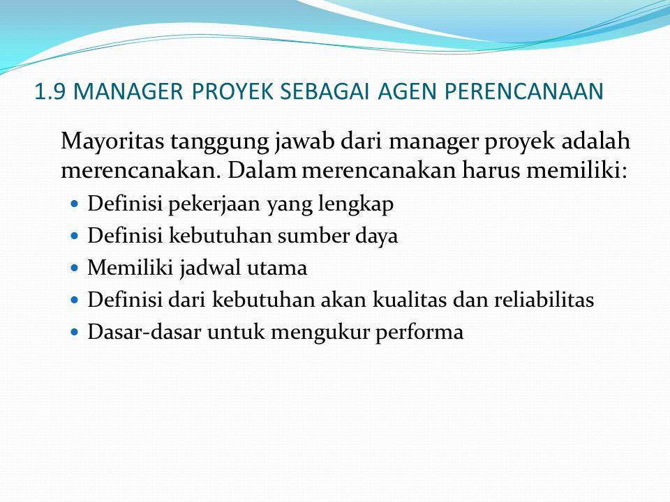 1.9 MANAGER PROYEK SEBAGAI AGEN PERENCANAAN Mayoritas tanggung jawab dari manager proyek adalah merencanakan. Dalam merencanakan harus memiliki: Defin