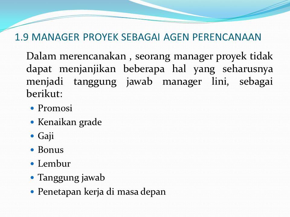 1.9 MANAGER PROYEK SEBAGAI AGEN PERENCANAAN Dalam merencanakan, seorang manager proyek tidak dapat menjanjikan beberapa hal yang seharusnya menjadi ta