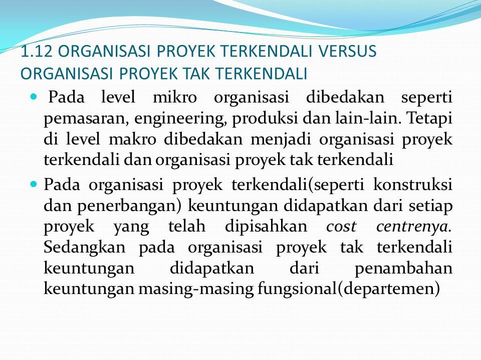 1.12 ORGANISASI PROYEK TERKENDALI VERSUS ORGANISASI PROYEK TAK TERKENDALI Pada level mikro organisasi dibedakan seperti pemasaran, engineering, produk