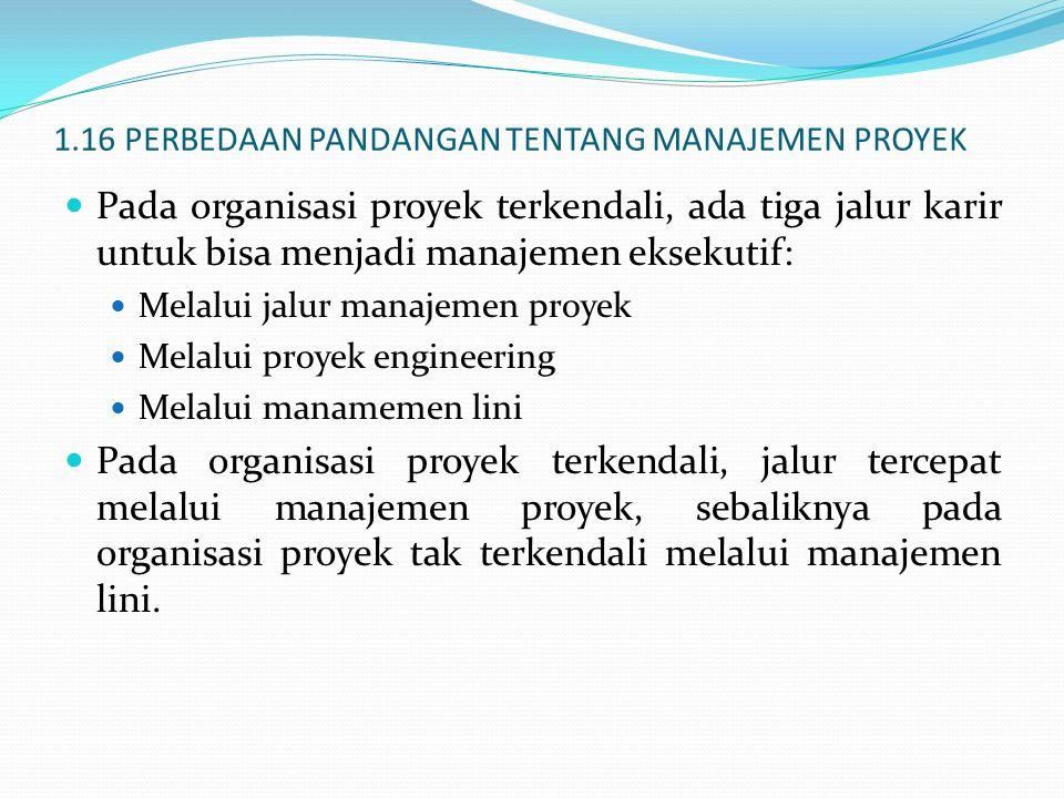 1.16 PERBEDAAN PANDANGAN TENTANG MANAJEMEN PROYEK Pada organisasi proyek terkendali, ada tiga jalur karir untuk bisa menjadi manajemen eksekutif: Mela