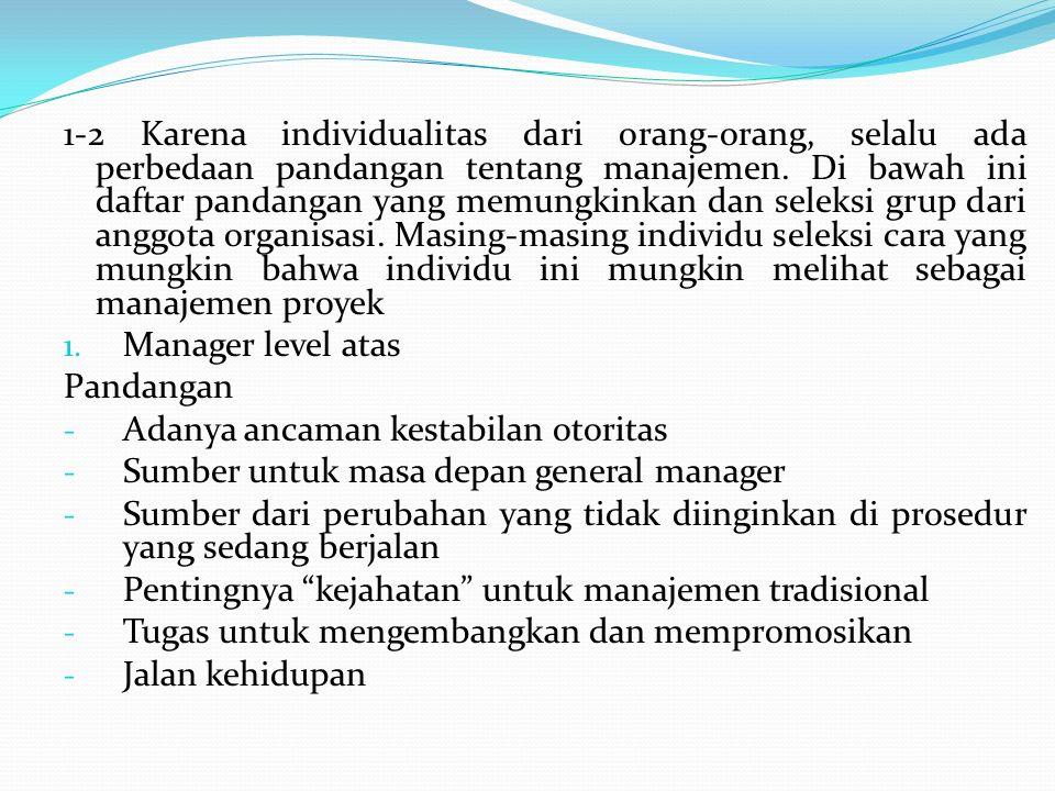 1-2 Karena individualitas dari orang-orang, selalu ada perbedaan pandangan tentang manajemen. Di bawah ini daftar pandangan yang memungkinkan dan sele