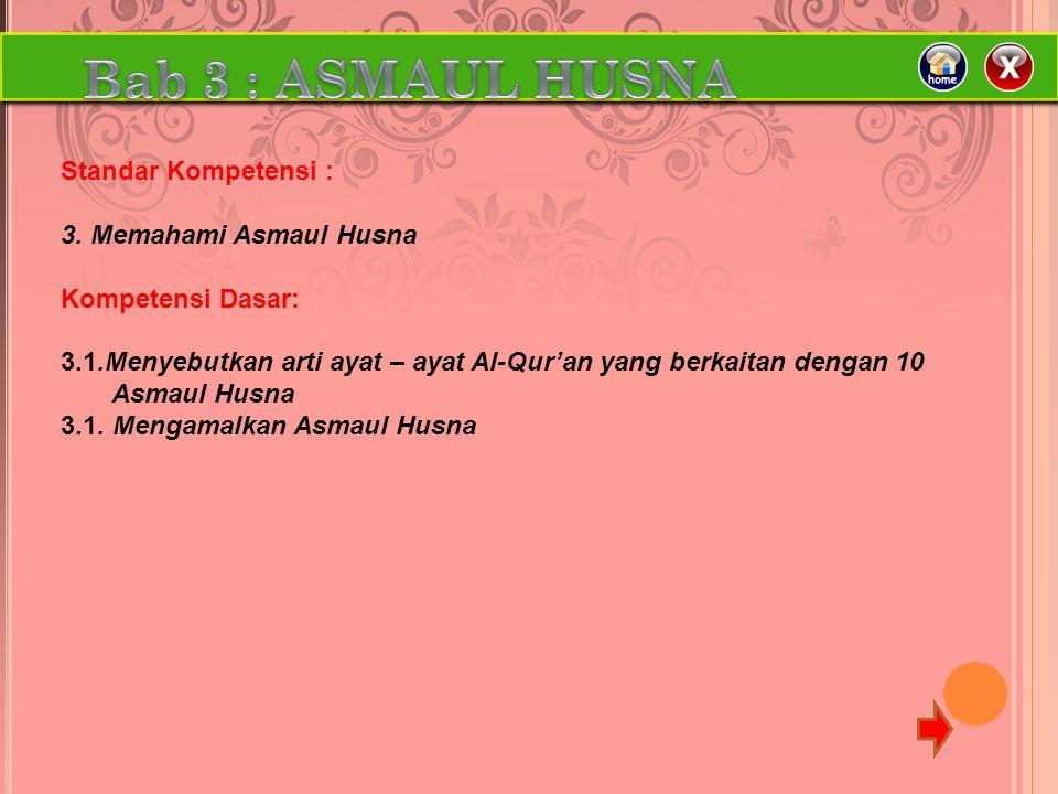 Standar Kompetensi : 3. Memahami Asmaul Husna Kompetensi Dasar: 3.1.Menyebutkan arti ayat – ayat Al-Qur'an yang berkaitan dengan 10 Asmaul Husna 3.1.