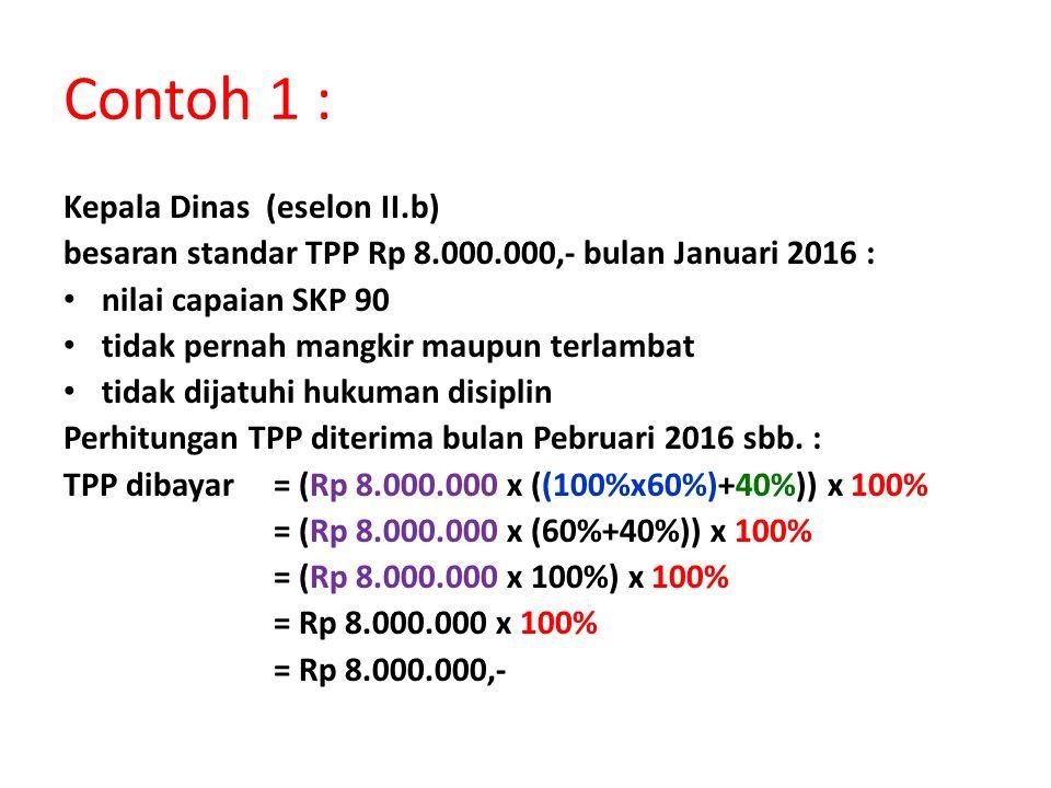 Contoh 1 : Kepala Dinas (eselon II.b) besaran standar TPP Rp 8.000.000,- bulan Januari 2016 : nilai capaian SKP 90 tidak pernah mangkir maupun terlamb