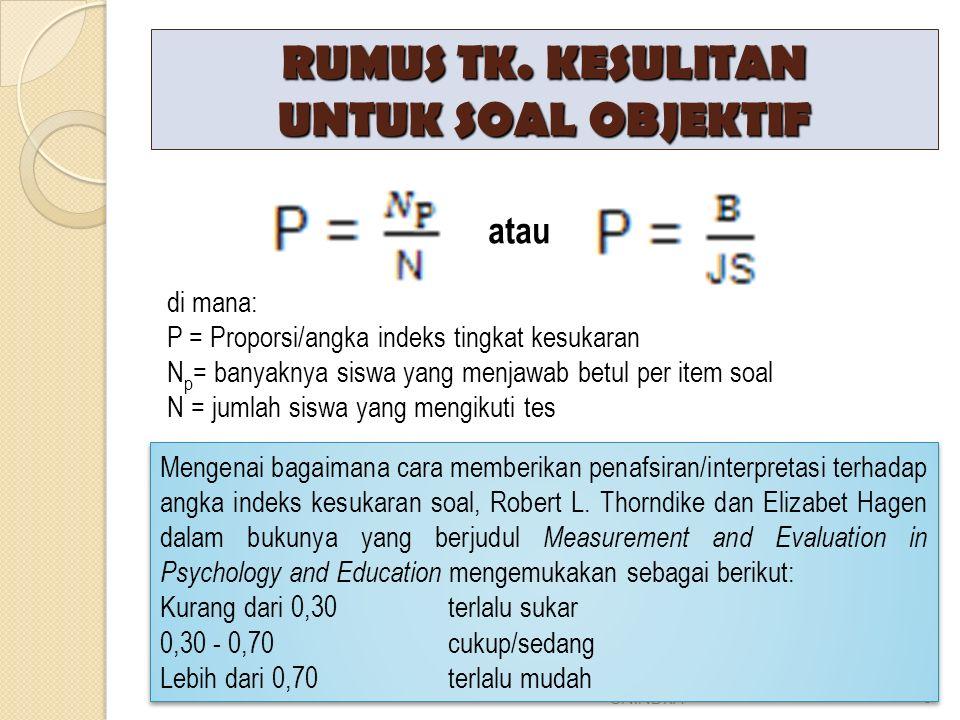 RUMUS TK. KESULITAN UNTUK SOAL OBJEKTIF DNA-EVALUASI PEMBELAJARAN UNINDRA3 atau di mana: P = Proporsi/angka indeks tingkat kesukaran N p = banyaknya s