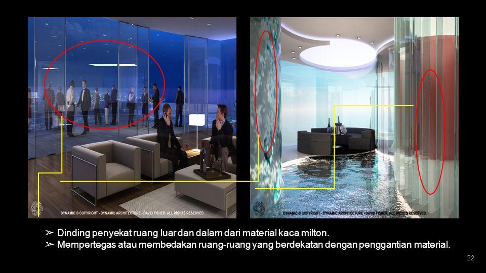 21 ➢ Inovasi desain interior yang unik ; Prepabrikasi. ➢ Lantai, dinding, kaca, AC, pipa air juga dibuat prepabrikasi. ➢ Unit-unit ini, terbuat dari b